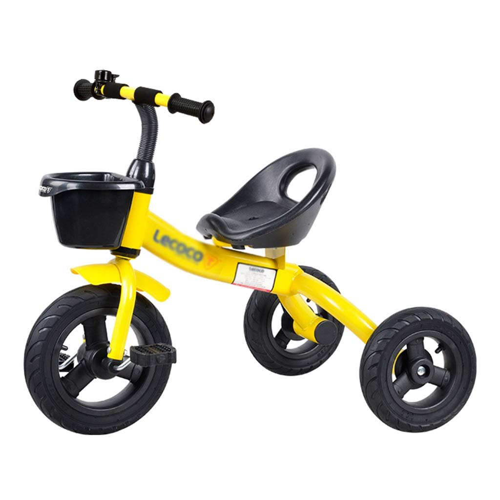 Xing Hua Shop Children's Tricycle Children's Bicycle 2-5 Years Old Children's Car Three-Wheeled Bicycle Adjustable Seat Bearing Weight 25kg (Color : Yellow, Size : 735058cm)