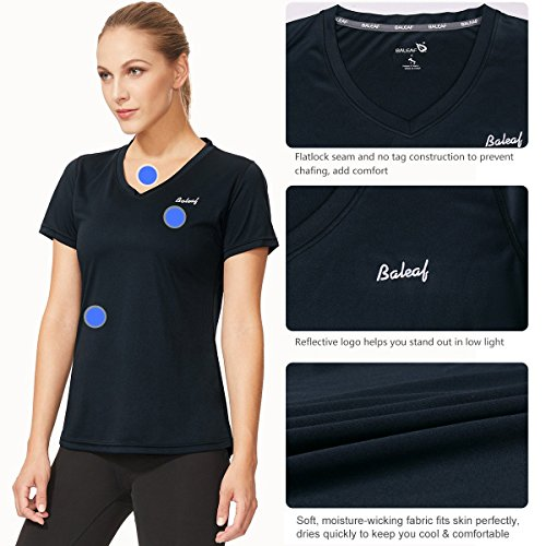 Baleaf Women's Workout V Neck T Shirt Short Sleeve Moisture Wicking Running Tops