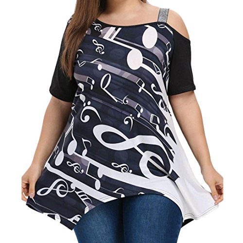 NREALY Women Ladies Plus Size Music Note Print Short Sleeve Blouse Pullover Tops -