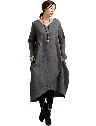 MatchLife Femme Vintage Robe à manches longues en lin Ourlet Irregulier  Tunique Loose Maxi-Style1 68adde172b59