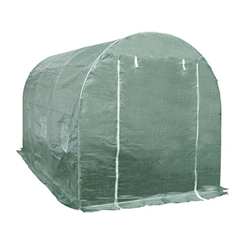 ALEKO GHT12X7X7 Poly-Tunnel Spacious Walk In Waterproof Plant Garden Outdoor Greenhouse Shed 12X7X7 Feet