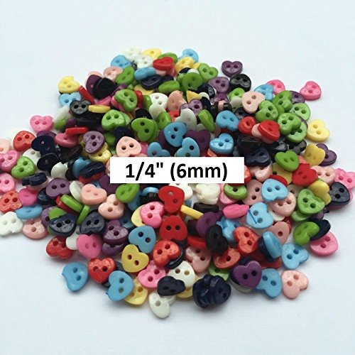 50 Tiny Heart 2-Hole Plastic Buttons 1/4