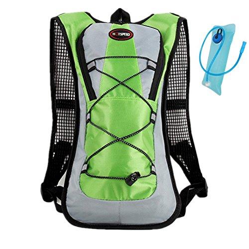 haoYK Leichter, wasserdichter Rucksack, 5-l-Fassungsvermögen, mit Trinkblase (2 l), mit Reflektoren, für Frauen und Männer, ideal zum Joggen / Skifahren / Wandern / Radfahren und mehr
