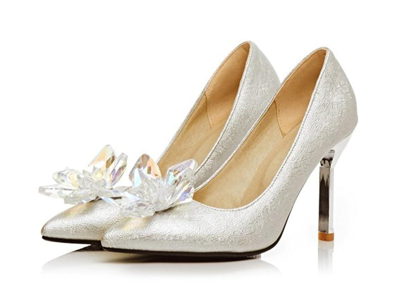 Aisun Damen Elegant Kristall Blumen Pointed Toe Metallic Stiletto Pumps