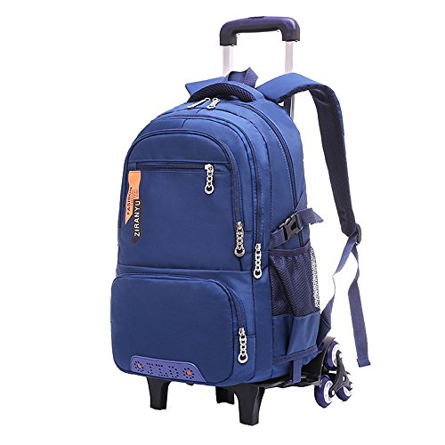 Fanci Waterproof Elementary Trolley Rolling School Backpack Book Bag for Boys Middle High Wheeled Backpack Carry On Luggage with Six ()