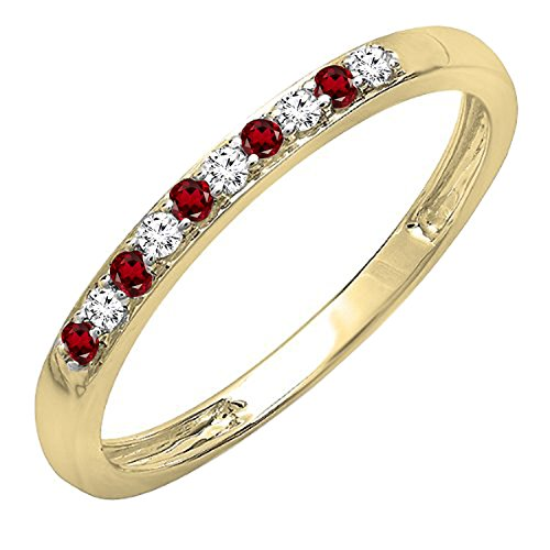 14K Yellow Gold Round Garnet & White Diamond Ladies Stackable Wedding Band (Size 7) - Garnet White Gold Wedding Bands