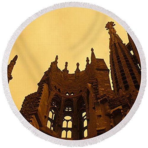 Pixels Round Beach Towel With Tassels featuring ''La Sagrada Familia Barcelona Spain'' by Pixels by Pixels