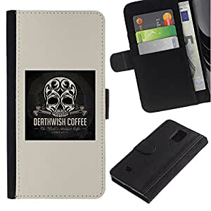 All Phone Most Case / Oferta Especial Cáscara Funda de cuero Monedero Cubierta de proteccion Caso / Wallet Case for Samsung Galaxy Note 4 IV // Skull Coffee Death Wish Poster Black