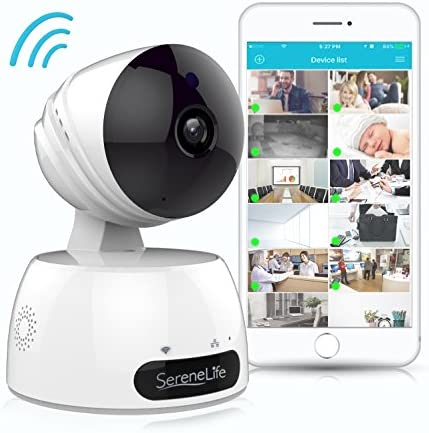 SereneLife Indoor Wireless IP Camera – HD 720p Network Security Surveillance Home Monitoring w Motion Detection, Night Vision, PTZ, 2 Way Audio, iPhone Android Mobile App – PC WiFi Access – IPCAMHD30