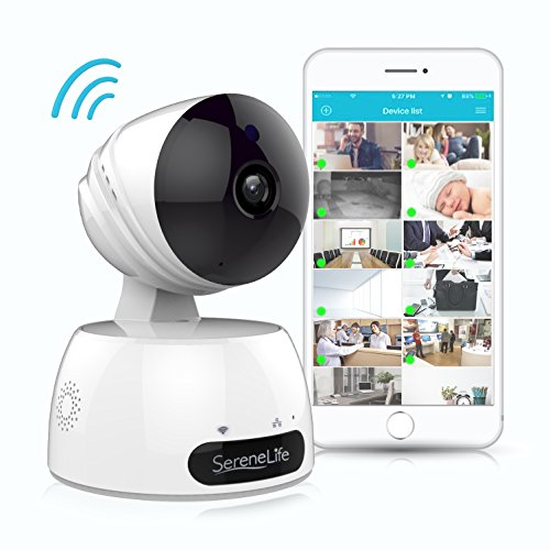 SereneLife Indoor Wireless IP Camera - HD 720p Network Security Surveillance Home Monitoring w/ Motion Detection, Night Vision, PTZ, 2 Way Audio, iPhone Android Mobile App - PC WiFi Access - IPCAMHD30