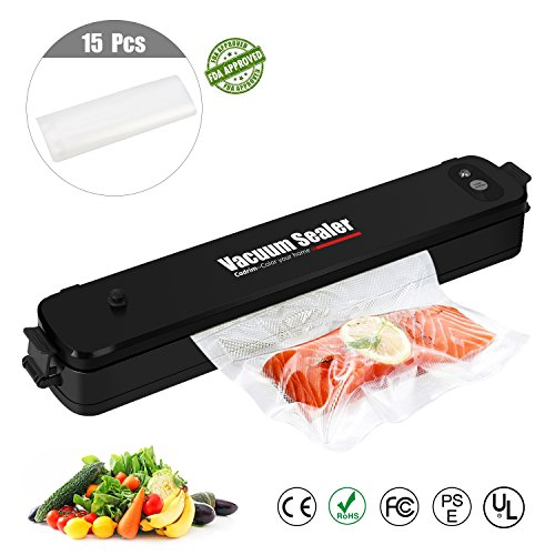 Vacuum Sealer Cadrim Food Vacuum Packing Machine Household Automatic Vacuum Sealer Machine With 15pcs Sealer Bags[Black] by Cadrim
