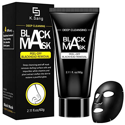 Black Mask Blackhead Peel Off Mask Blackhead Remover Mask Charcoal Deep Cleansing Pore Shrinking Acne and Oil Control Anti Aging For All Skin Types - 60g