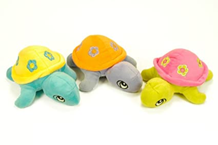 CAPRILO Lote de 3 Peluches Infantiles Decorativos Tortugas con Sonajero Multicolores. Juguetes Infantiles. Muñecos