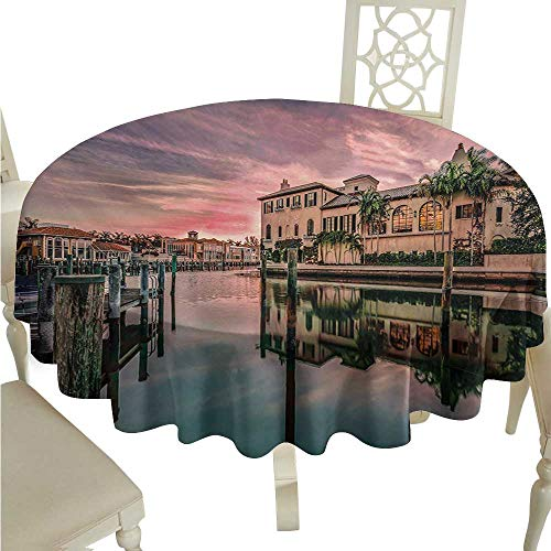 Willsd Dustproof Square Tablecloth Cityscape Colorful Sunrise Over Venetian Bay Naples Florida Apartments Trees Waterscape and Durable D60 Suitable for picnics,queuing,Family