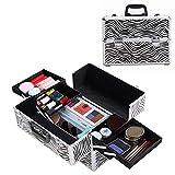 Makeup Organizer Case,Aluminum Frame Portable Cosmetic Travel Case Professional Train Case for Women (zebra)