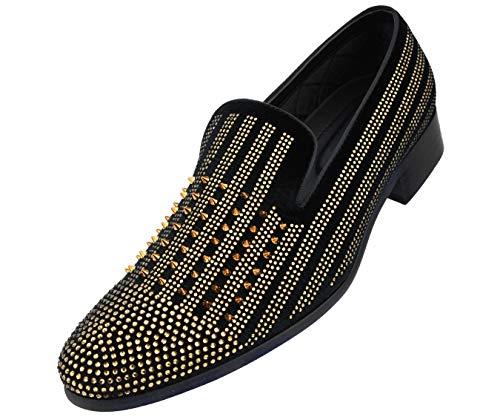 Amali Men's Vibrant Faux Velvet Smoking Slipper with Golden Spikes & Jewels Dress Shoe, Style Damian