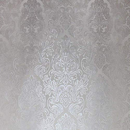 QUADRUPLE ROLL 113.52sq.ft (4 single rolls size) Slavyanski wallcovering washable victorian pattern Vinyl Non-Woven Wallpaper silver ivory white gray textured stripe wall glitters metallic 3D damask ()