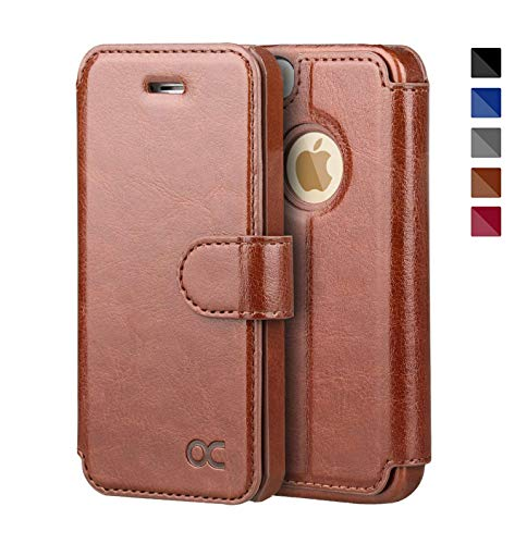 OCASE iPhone 5S Case iPhone 5 Case iPhone SE Case [Card Slot] [Kickstand] Leather Wallet Case [Slim Fit] - For Apple iPhone 5 / 5S / SE Devices - Brown