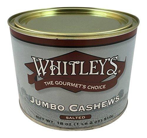 Gourmet Cashews - Whitley's Jumbo Cashews Salted 18 Oz.