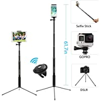 "61"" Selfie Stick Tripod, Moreslan Bluetooth Selfie Stick with Tripod Stand and Remote, Phone Tripod Extendable Monopod…"