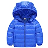 Baby Boys Girls Winter Puffer Down Jacket Kids Ear Warm Coat Thicken Hoodie Outwear Lightweight Blue 80