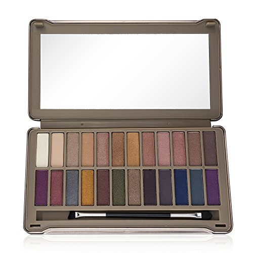 (Ellen Tracy 24-Well Eye Shadow Palette in Tin Box, Essential Naturals & Dramatic Bolds )
