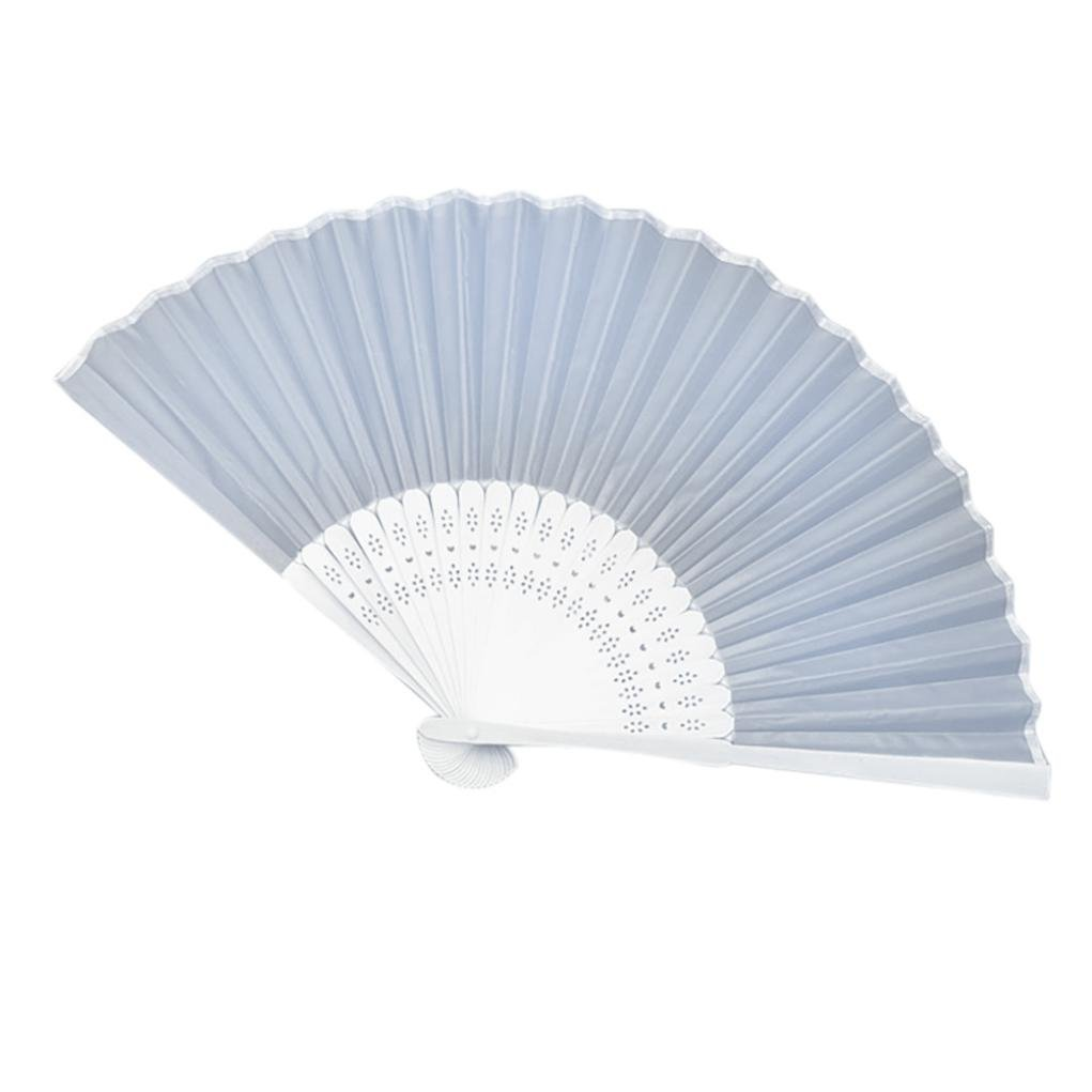 Chinese Style Hand Held Fan, Bamboo Silk Folding Fan, for Party Wedding Decor (Silver)