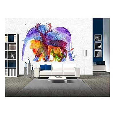 Color Animals Elephant Deer Lion Rabbit Drawing Overprint...
