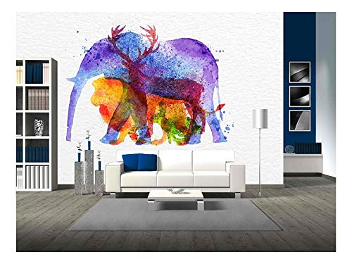 Color Animals Elephant Deer Lion Rabbit Drawing Overprint on Watercolor Paper Background Lettering I Love Animals