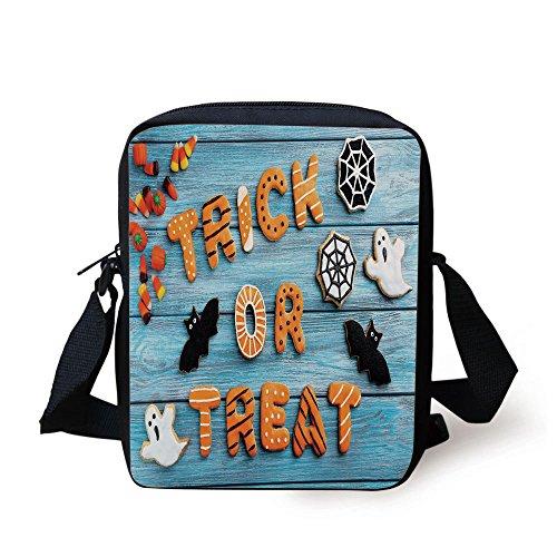IPrint Vintage Halloween,Trick or Treat Cookie Wooden Table Ghost Bat Web Halloween,Blue Amber Multicolor Print Kids Crossbody Messenger Bag -