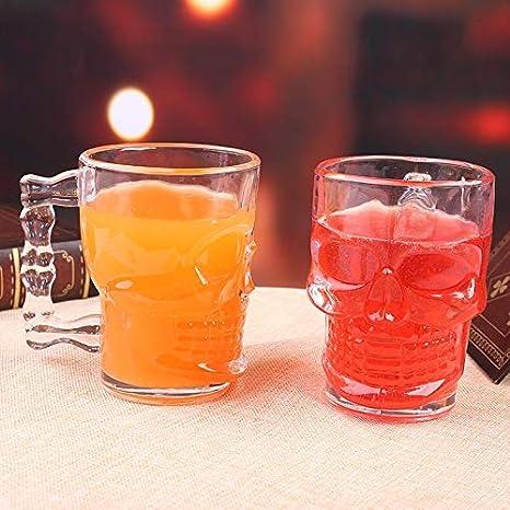 9 cm Transparent HAOAYOU Chope bi/ère 500 ML cr/âne Verres /à bi/ère Transparent avec poign/ée Verre /à vin pour Club Bar Halloween 13