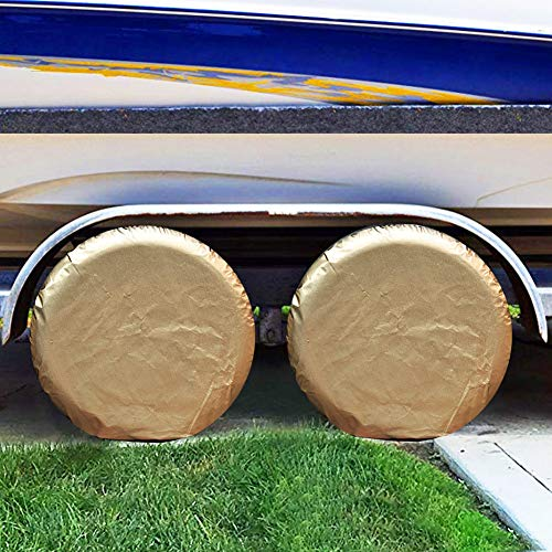 GUNHYI Tire Covers Set Of 4 For Rv Travel Trailer Camper Vinyl Wheel, Sun Rain Snow Protector, Waterproof Aluminum Film With Cotton,Fits 27-29 Inch Tire Diameter