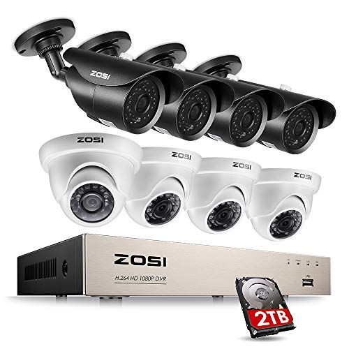 ZOSI 1080P Security System 8 Channel HD-TVI Video Recorder DVR with 8 x 2.0 megapixel Bullet & Dome Waterproof Security Cameras, Day & Night Vision, 2TB Hard Drive, Rmote Access on PC & Smartphone
