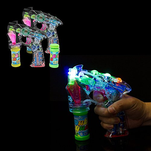 Fun Central I484, 2 Pcs, Light Up Transparent Bubble Shooter, LED Bubble Guns for Kids, Bubbles Machine, Bubbles Gun for Birthday, Bubble Party