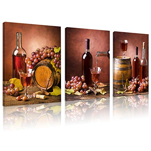 FUNHUA Wine Buckets and Grapes Art Prints and Posters for Living Room Kitchen Bar Wall Decor Wine and Wine Cups Canvas Prints with Wooden Frame 12x16inchx3pcs