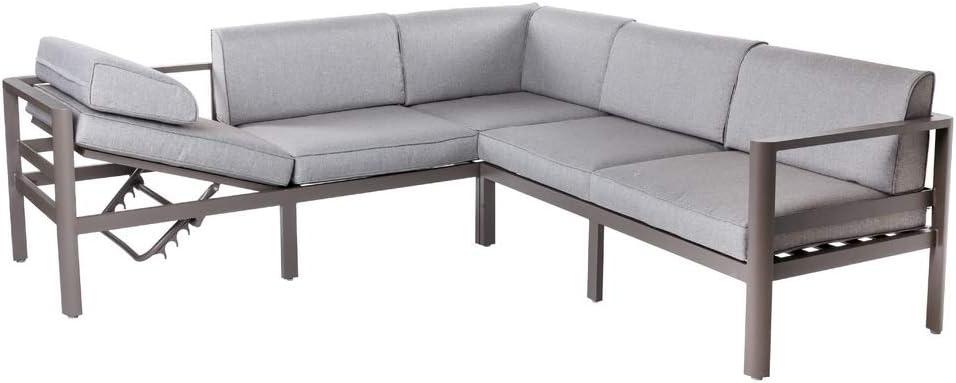 Conjunto de sofá de Exterior de Aluminio Gris para jardín - LOLAhome: Amazon.es: Jardín