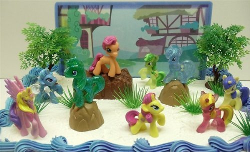 My Little Pony Birthday Cake Topper Featuring 10 Random My Little Pony Characters, Trees, Boulders, Backdrop and Other Themed Decorative Cake Pieces (Strawberry Ponies Pony Shortcakes)