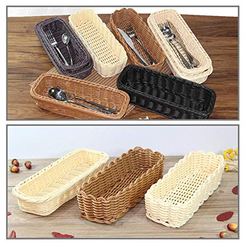 Autumn Water Cutlery Plastic Imitation Vine Storage Basket Weaving Bread Drain Basket Storage Box for A Cutter and Fork