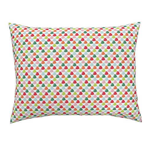 Roostery Candy Gumdrops Christmas Holiday Sweets Gingerbread House Colorful Standard Knife Edge Pillow Sham Goody Goody Gumdrops by Jillbyers 100% Cotton (Goody Goody Gumdrop)