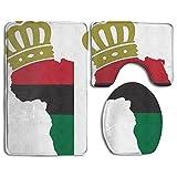 Usieis Crown Africa Flag Non-Slip Toilet Rug Sets 3 Pcs Bathroom Mats Rug Lid Toilet Cover