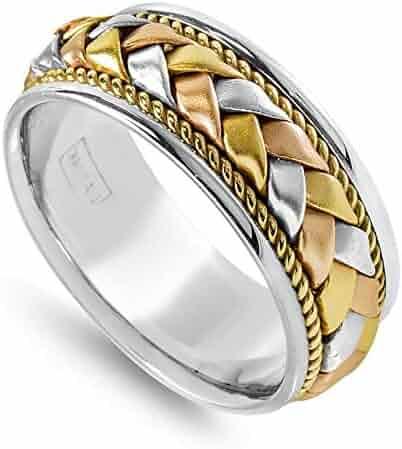 14K Tri Color Gold Braided Basket Weave Men's Comfort Fit Wedding Band (8.5mm)