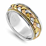 14K Tri Color Gold Braided Basket Weave Men