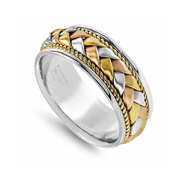 14K-Tri-Color-Gold-Braided-Basket-Weave-Mens-Comfort-Fit-Wedding-Band-85mm