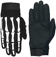 Hot Leathers Skeleton Mechanic Gloves (Black, X-Large)