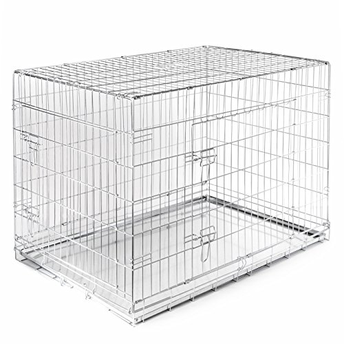 SmithBuilt Folding  Double Door Cage Metal Dog Crate, 48 in.