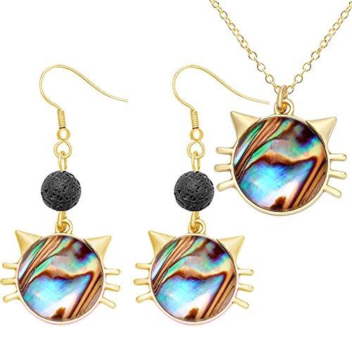 SENFAI Cat Face Charm Abalone Shell Pendant Necklace 3 Tone 18