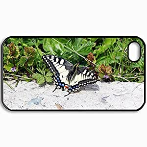 Personalized Protective Hardshell Back Hardcover For iPhone 4/4S, Butterfly Design In Black Case Color