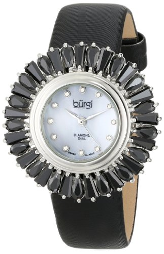 Burgi Women's BUR092BK Black Crystal Accented Swiss Quartz Watch with Blue Mother of Pearl Dial and Black Fabric Strap - Blue Quartz Pearl