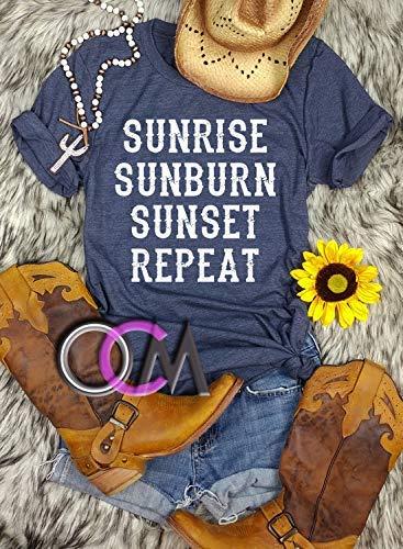 b85ee6f00 Amazon.com  SUNRISE SUNBURN SUNSET REPEAT T-SHIRT