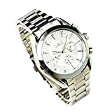 GuTe Elegant Mens All Silver Steel Auto Mechaincal Wrist Watch Day & Date & 24hrs Luminous